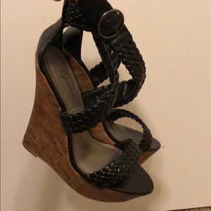 Shoes - Braided black wedges